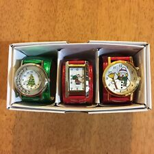 Christmas Watches Wrist Wrappers Santa Snowman Christmas Tree Holiday Red Green