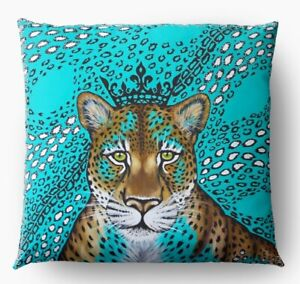 Pillowcase For Cushion Decorative Leopard Turquoise by Hand Design Exclusive