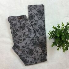 PAIGE Grey Floral Peg Skinny Ankle Jeans Pants 25 NWT
