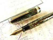 Green and Gold Senior Parker Striped Duofold Fountain Pen - restored