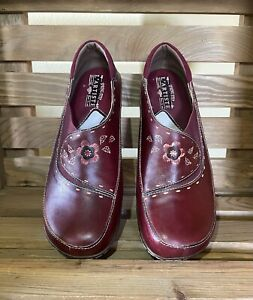 L'Artiste Spring Step Burbank Womens Maroon Leather Clogs Shoes Euro 41 / US 10