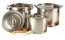 SET OF 4 DEEP STAINLESS STEEL STOCK POTS