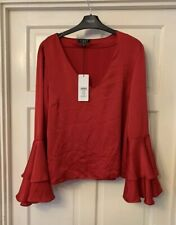 Lipsy Ladies Red Flute Sleeve Top - Brand New - Size 12