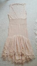 Free People Spun Beige Nude Crochet Lace Hi Lo Dress Mermaid Tiered Ruffle S
