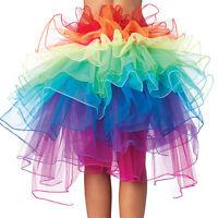 Rainbow Neon Rave Dance Ballet Tutu Ruffle Tiered Fancy Skirt Clubwear Xmas NzEC