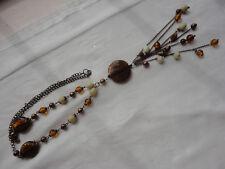 "Orange + cream murano glass 17"" 72gram 26"" brass-tone link multi lariat necklace"