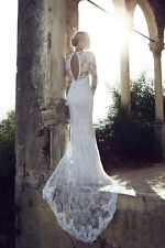 Long Sleeves Lace Wedding Dress Bridal Gown Custom Size 4 6 8 10 12 14 16 18 +++