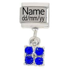 SEPTEMBER BIRTHSTONE Custom Made Italian Charm NAME & DATE Fits Nomination