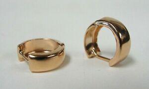 "Chunky 14k Rose Gold 1/2"" Smooth Hinged Huggie Earrings - 1.19g"