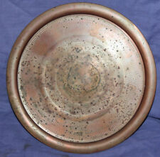Vintage hand made round copper serving tray