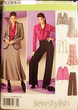 Miss Simplicity 1784 Pattern Trumpet Skirt Jacket Pants UNCUT Size 8-10-12-14-16