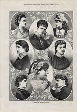 OLD ANTIQUE 1879 ENGRAVING PRINT PRETTY LADIES A GROUP OF ENGLISH BEAUTIES b117