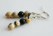Handcrafted Silver Brown Agate & Black Onyx Genuine Semi-precious Earrings Gift