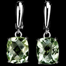 Sterling Silver 925 Genuine Natural Cushion Faceted Green Amethyst Earrings