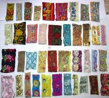 VERY RARE LOT Antique Vintage Sari TRIM LACE EDGING RIBBON 30 Pcs EMBROIDERED B1