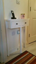 H80 W59 D15cm BESPOKE WHITE SATIN 2 DRAWER CONSOLE HALL TELEPHONE SIDE TABLE