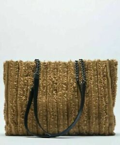 new with tags  ZARA FRAYED FABRIC SHOPPER TOTE BAG BEIGE BROWN