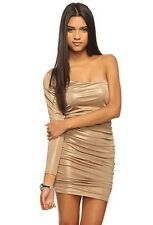 Forever 21 Gold Glitter Shimmer One Shoulder Sleeve Asymmetric Cutout Dress M