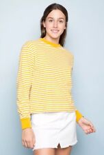 New! brandy melville Yellow White Striped long sleeve Crewneck Gretchen Top NWOT