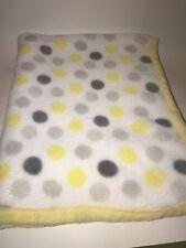 Baby BLANKET White Yellow Trim Gray Dot Polka Dots Unbranded Very Soft EUC