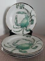 "Tommy Bahama SET of 4  white melamine with turquoise CRAB 11"" dinner plates NWT"