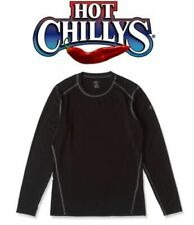 HOT CHILLYS MEN'S MTF 4000 SKI / SNOW CREWNECK, BLACK, MID-WEIGHT BASE, SIZE S