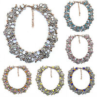 Crystal Flower Women Choker Bib Chunky Statement Chain Necklace Fashion Jewelry