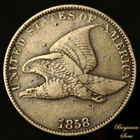 1858 Large Letters FLYING EAGLE CENT 1c, 030221-08E Free shipping!