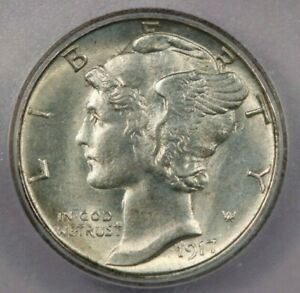 1917-S Mercury Dime ICG MS64+ Clashed Dies