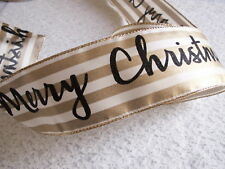 Merry Christmas Ribbon, Ivory Gold and Black, 2 1/2 In Wide,Wired Edge, 5 YARDS