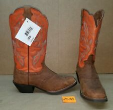Womens Size 9 C JUSTIN Brown with Orange L7304 Cowboy Boots Square Toe