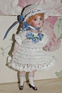 """Antique Doll French Dress Hat Pants Set for 4.5-5.5"""" Bisque Miniature Mignonette"""