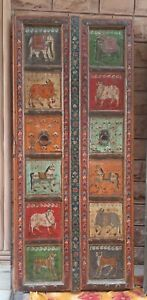 Antique animals painted doors home decor carved door Indian furniture old frame