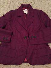 Yves St Laurent Purple Striped Wool Blazer Sz Vintage 40 Guc