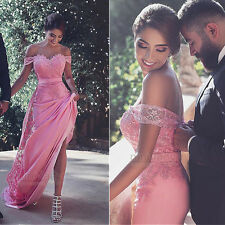 Pink Long Lace Evening Dresses Formal Party Ball Bridesmaid Prom Pageant Gown