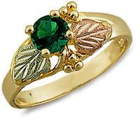 Landstrom's® 10K Black Hills Gold Ladies Ring with Emerald Size 4 - 10