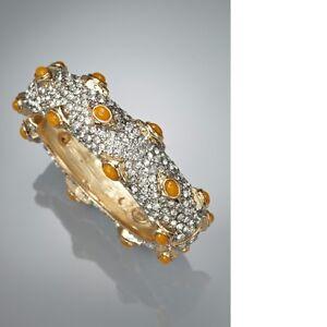 KENNETH JAY LANE Crystal Encrusted Stone Bangle, Braclete