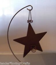 "PRIMITIVE RUSTY TIN STAR CANDLE HOLDER 4""~ CRAFTS,MINIATURES"