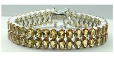 Citrine Gemstone Two Row 925 Sterling Silver Women Bracelet In White Gold Plated