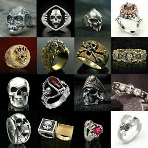 Fashion Gothic Mens Skull Bones Biker Ring Men Stainless Steel Jewelry Size 6-13