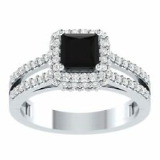 2.20Ct Princess Cut Black Diamond Halo Engagement Ring With 14K White Gold