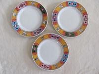 Deruta Pottery Italy Villagio-Multi-Color Geometric- Set of 3 Salad Plates