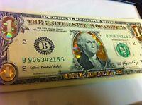 1$-22 KARAT GOLD DOLLAR BILL-HOLOGRAM COLORIZED-USA NOTES-LEGAL TENDER CURRENCY