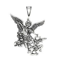 Sterling Silver San Miguel Arcangel St. Michael Archangel Pendant 2.3 inches Big
