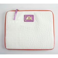 Juicy Couture White Croc Faux Leather Zip Around Tablet iPad Case Sleeve