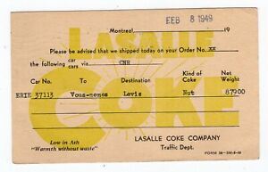 Canada QC Quebec - Montreal 1949 Lasalle Coke - Freight Advice - Stationery PC -