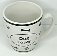 """""""Dog Lover"""" Drinking Mug Puppy Coffee Cup Dogs Canine Bones White 16 Ounce"""