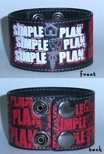 Simple Plan- NEW Repeat Logo Leather Snap Wristband-M/L SALE FREE SHIP TO U.S.!