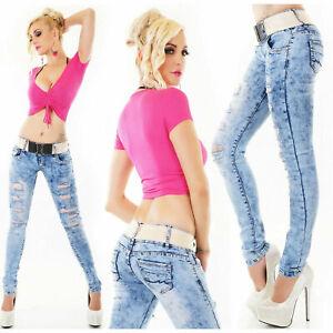 Women's Skinny Slim Ripped Mesh insert low waist Jeans Light Blue Belted 6-14