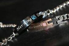 """''Her King His Queen"""" Couple Lover Bracelets Stanley Steel Gift Uk free delivery"""